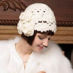 Hand crochet flower knit beanie hat for women pearl winter berets knit hats bbc24e05552