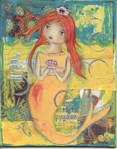 Look Upward Mermaid Mixed Media Original Painting