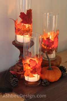 """Marji at AshbeeDesign.com created leaf """"cuffs"""" for glass candle pillars - Thanksgiving Centerpiece"""