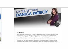 Grand Prize winner  in the Academy Sports + Outdoors On The Set With Danica Patrick! ARV. $4350.