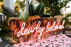 """Wedding Trends Dearly beloved neon sign - Do you love neon wedding signs as much as we do? You'll see """"neon"""" as a trending item for weddings in every single 2018 trend report! Tropical Wedding Decor, Tropical Bridal Showers, Wedding Trends, Wedding Styles, Wedding Designs, Wedding Bells, Wedding Day, Green Wedding, Mauve Wedding"""