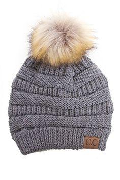 CC Fur Pom Pom Knit Beanie - 6 Colors