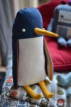 zelfgemaakte knuffel pinguïn