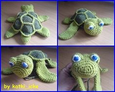 """Super cute free turtle pattern - crocheted - Soooo cute!   Must make for little """"turtle's"""" Christmas stocking!   <3"""