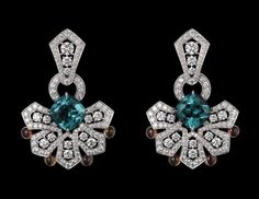 Cartier - Oriental Influences – High Jewelry Earrings - Platinum, two cushion-shaped blue tourmalines totaling carats, cabochon-cut yellow sapphires, brilliants. Cartier Earrings, Cartier Jewelry, Emerald Jewelry, High Jewelry, Bling Jewelry, Diamond Jewelry, Antique Jewelry, Jewelry 2014, Jewellery Earrings