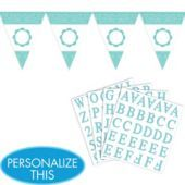Robin's Egg Blue Personalize It Pennant Banner Kit from Party City