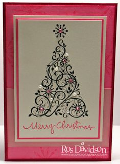 handmade Christmas card: Merry Christmas by ros /// pink and white card with black stamp swirl tree ... like the pearls and pink gems on the the tree ... pretty card ... Stampin' Up!