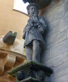 """Statue at Stirling Castle, said to depict KING JAMES V posing as the 'Gudeman of Ballengeich'. According to legend, James was nicknamed """"King of the Commons"""" as he would sometimes travel around Scotland disguised as a common man, describing himself as the """"Gudeman of Ballengeich"""" ('Gudeman' means 'landlord' or 'farmer', and 'Ballengeich' was the nickname of a road next to Stirling Castle – meaning 'windy pass' in Gaelic). 3rd COUSIN"""