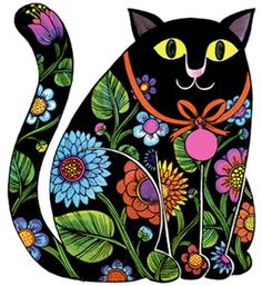 UK (Polish Born) ~ Jan Pienkowski ~ Folk Art Cat More and like OMG! get some yourself some pawtastic adorable cat apparel! Art Populaire Russe, Bordado Popular, Polish Folk Art, Russian Folk Art, Cat Quilt, Decoupage Vintage, Folk Embroidery, Cat Colors, Naive Art