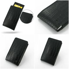 PDair Leather Case for Nokia Lumia 525 - Vertical Pouch Type (Black/Crocodile Pattern)