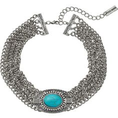 Steve Madden Oval Turquoise Stone w/ Four Row Chain Choker Necklace... ($25) ❤ liked on Polyvore featuring jewelry, necklaces, silver chain necklace, pendant necklace, silver chain choker, silver necklace and chain choker
