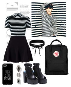 """Black & Stripes"" by katedrowned ❤ liked on Polyvore featuring T By Alexander Wang, Miss Selfridge, Fjällräven, Boohoo, Casetify, blackandwhite, kpop and bts"