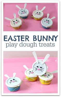 What child doesn't love to get creative with play dough? Give these little Easter Bunny Play Dough treats as gifts this Easter!daycare gifts Easter Bunny Play Dough - No Time For Flash Cards Easter Activities For Kids, Easter Gifts For Kids, Easter Crafts, Easter Ideas, Easter Decor, Crafts Toddlers, Bunny Crafts, Preschool Crafts, Daycare Gifts