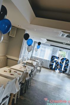 Balloon specialists like myself can do so much more with your number balloons.Why just have a floating single number when you can have a balloon display and make a feature out of the number balloon. Balloon Stands, Balloon Display, Number Balloons, White Balloons, 50th Birthday Balloons, Blue And Silver, Blue And White, Milestone Birthdays, Creative Decor