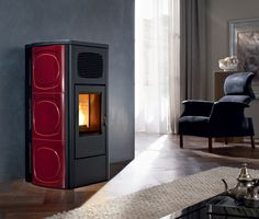 This stunning pellet fireplace not only heats your home but can also heat your homes water supply.