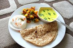 Meal Series: Tempered Cashew yogurt, spiced potatoes and bell peppers with Indian flat bread( Kadhi, Aloo Shimla Mirch, Roti)! Vegan | Vegan...
