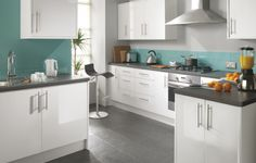 white and teal kitchens Fairmount White Gloss Kitchen Cheap Kitchens UK Budget Kitchens Grey Gloss Kitchen, Teal Kitchen, Cozy Kitchen, Kitchen On A Budget, Kitchen Ideas, White Kitchen Cupboards, Kitchen Wall Cabinets, Kitchen Units, Kitchen Flooring