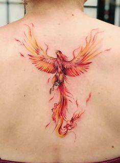 Simple Phoenix Tattoo, Japanese Phoenix Tattoo, Phoenix Back Tattoo, Rising Phoenix Tattoo, Small Phoenix Tattoos, Bird Tattoo Back, Phoenix Tattoo Design, Watercolor Phoenix Tattoo, Watercolor Wrist Tattoo