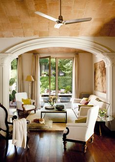 elegant & understated - love the softly colored ceiling tiles