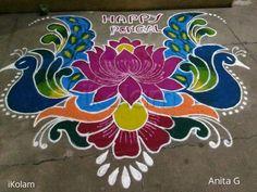 Free hand kolam done on pongal.Rangoli Freehand Rangoli: Pongal kolam by Anita_rosemary Rangoli Side Designs, Simple Rangoli Border Designs, Rangoli Designs Latest, Free Hand Rangoli Design, Small Rangoli Design, Rangoli Designs Diwali, Rangoli Designs With Dots, 3d Rangoli, Happy Diwali Rangoli
