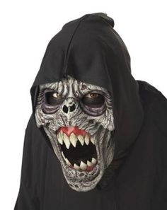mascara demonio de la noche c/capucha negra. halloween