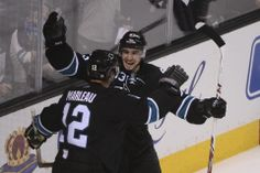 San Jose Sharks rookie forward Matt Nieto is all smiles after linemate Patrick Marleau scored a first period goal (April 17, 2014).