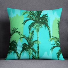 S4Sassy Blue Square Cushion Cover Tropical Palm Tree Print Pillow Case