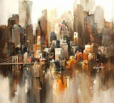 Stunning cityscape painting by Wilfred Lang.