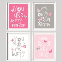Nursery Print - You Are My Sunshine - Pink and Grey with BUTTERFLIES - 8x10 wall art, baby shower gift, boy and girl colors. $59.99, via Etsy.
