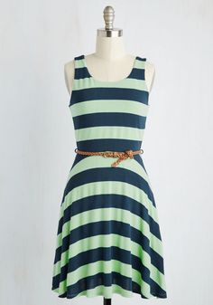 Sunday Escapade Dress. Your favorite day of the week just got cuter thanks to this striped dress! #mint #modcloth