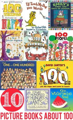 10 Books Exploring Concepts Relating to Counting to 100. Great for 100 day of school celebrations. Math Books, Preschool Books, Preschool Math, 100 Days Of School, School Holidays, School Stuff, 100s Day, Counting To 100, 100 Day Celebration