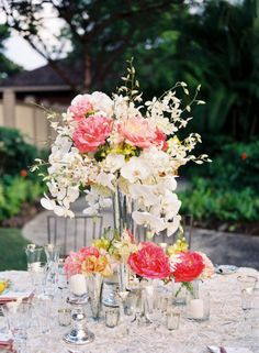 Coral and orchid centerpiece
