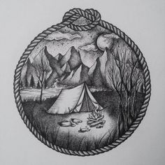 Camping Fashion Decor - - - Youth Camping Logo - Camping Food On A Stick - Ink Pen Drawings, Cool Art Drawings, Tattoo Drawings, Art Sketches, Tattoo Geometrique, Outdoor Tattoo, Hiking Tattoo, Natur Tattoos, Stippling Art