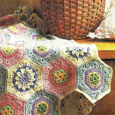 3 Vintage Hexagon Crochet Square Flower Motifs Afghan Pattern PDF $5