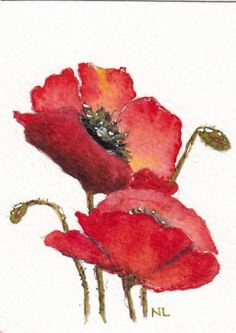 ACEO Miniature Card Original Watercolour - Lest We Forget - Red Poppies Flowers