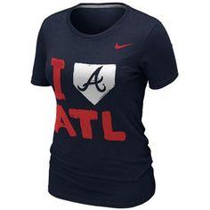 NEW ARRIVAL: Nike Atlanta Braves Ladies I Love Slim Fit T-Shirt