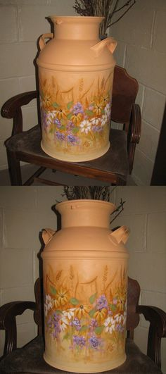 Milk Can Painting with wildflowers - requested orange color for milk can. Painted by Amy Stearns
