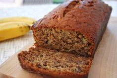 Moist and delicious classic banana bread recipe.  Easy to make, no need for a mixer. Ripe bananas, butter, sugar, egg, vanilla, baking soda, and flour. I scaled back on butter and sugar and use some apple butter!! MMMMMMMM!!