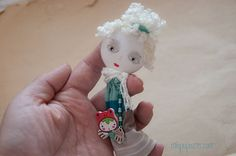 Art Doll Brooch Girl and her Bunny mixed media by miopupazzo,