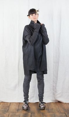 Annette Gortz Leather Tunic with Knitted Sleeves. Shop the look: http://www.bluewomensclothing.co.uk/collections/annettegortz/products/annette-gortz-leather-tunic-with-knitted-sleeves