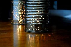 DIY, summer, craft, recycled, tin can, lantern, punched, votive, how-to