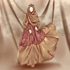 Fashion Drawing Dresses, Fashion Illustration Dresses, Fashion Sketches, Anime Muslim, Muslim Hijab, Hijabi Girl, Girl Hijab, Love Cartoon Couple, Girl Cartoon