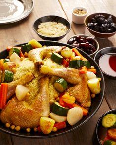 COUSCOUS POULET REVISITÉ À LA MODE SUD-OUEST Pour 6 personnes 6 cuisses de poulet fermier St SEVER 2 navets du Pardailhan 4 carottes des Landes 4 pommes de terre d'Eysines 1 c.a.c de piment d'Espelette 12 abricots du Roussillon sec 2 courgettes 2 c.a.s  de Ras el Hanout 1 c.a.s  de coriandre moulu 1 c.a.s  de piment doux 1 c.a.c de cumin 1 boite de pois chiches 30 cl de bouillon de volaille 1 c.a.s e de harissa 3 c.a.s d'huile d'olive 2 boites de concentré de tomate 500 g de couscous fin ... Root Vegetables, Almond Recipes, Pork, Sweet, Ethnic Recipes, Olive Oil, Tomatoes, Chicken Couscous, Kitchens