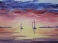 "Twilight Sail - 11x15"" original watercolor painting by Jim Oberst - $200."