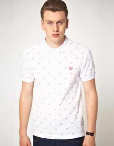 Fred Perry All Over Laurel Print Polo (Slim Ft)