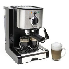2NDS , factory refurbished. Explore brewing your own specialty coffee drinks with the simple-to-use Capresso EC100 pump espresso and cappuccino machine. The Thermoblock heating system has 15 bar pump pressure and two sieves to produce two espressos at one time. Available Colors: BLACK/STAINLESS.