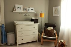 Great use of Ikea's Hemnes dresser as a baby changing table...then after the diaper changing days are over the child can have a non-baby dresser for years to come. :)