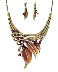 "PammyJ Goldtone Brown Leaf Statement Necklace and Earrings Set, 16"" + 3"" Ext."