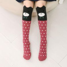 High Elasticity Girl Cotton Knee High Socks Uniform Cartoon Moon Sky Sun Pattern Women Tube Socks