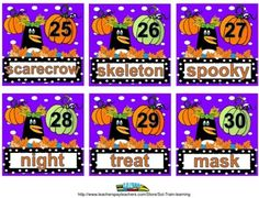 Our October calendar pieces have a fun AB pattern as well as Fall words that comes with activity ideas for the vocabulary.  We have also included a student version and a teacher's guide.  There is a fun vocabulary scoot game or you can use them as task cards at a word center.     My students  use the words to help with their writings.  Great for ELL students! $ #calendar#Fall/Autumn #TPT #teacherspayteachers#math #vocabulary #ELA #learning #teaching#pumpkins #patterns#scoot game
